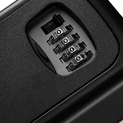 JUN-L Key Lock Box, House Key Storage Lock Box with 4 Digits Combination Outdoor Key Safe Lock Box for Outside, Sturdy Wall Mounted Password Box with Mounting Kit & Waterproof Cover (Black) by JUN-L (Image #2)