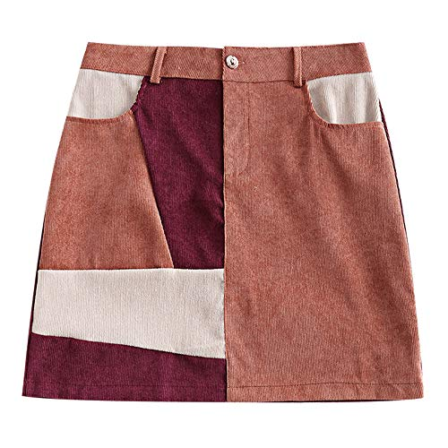 ZAFUL Women's Vintage Corduroy Color Block Patchwork A-Line Mini Skirt (Bean Red, XL) ()