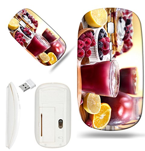Luxlady Wireless Mouse White Base Travel 2.4G Wireless Mice with USB Receiver, 1000 DPI for notebook, pc, laptop, mac design IMAGE ID: 44239897 juice of raspberries and blackberries with citrus and pa