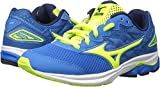 Mizuno Running Unisex-Kids Wave Rider 20 Junior Shoes, Directoire Blue/Safety Yellow/Peacoat, 2.5 B US Big Kid