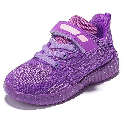HOBIBEAR Kids Running Shoes Outdoor Sneakers Athletic Shoes Fashion Shoes Toddler Boys Girls(Purple 11.5)