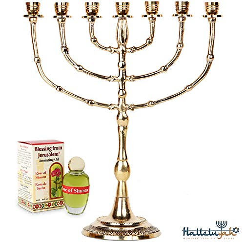 HalleluYAH Menorah 7 Branched Candelabra Plus Anointing Oil - Contemporary Design - The Lamp of God - Judeo-Christian Symbol - Made in Israel Made of Brass Copper - 15 Inches High ()