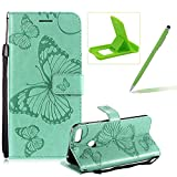 Strap Leather Case for Huawei Honor 10 Lite,Wallet Leather Case for Huawei Honor 10 Lite,Herzzer Premium Stylish Pretty 3D Green Butterfly Printed Bookstyle Magnetic Full Body Soft Rubber Flip Portable Carrying Stand Case with Card Holder Slots