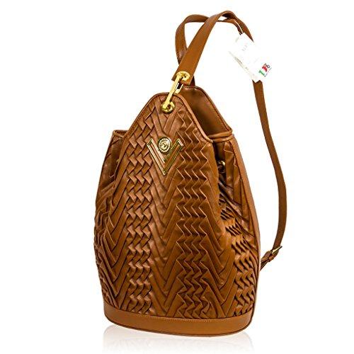 7bc4b53383b2 Valentino Orlandi Italian Designer Caramel Brown Pleated Leather Bucket  Sling Bag