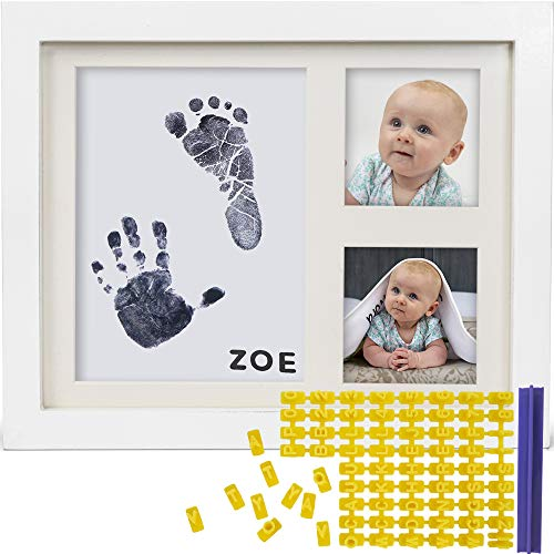 Baby Ink Hand and Footprint Kit - Handprint Picture Frame for Newborns (Safe Clean-Touch Ink Pad for Prints) - Best New Mom and Shower Gift - Foot Impression Photo Keepsake for Girls & Boys - (White) (Photo Frames Babies)