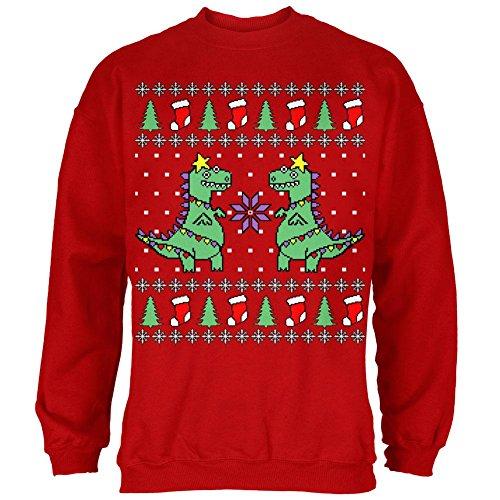 (Old Glory Tree Rex T Rex Ugly Christmas Sweater Mens Sweatshirt Red 3X-LG)
