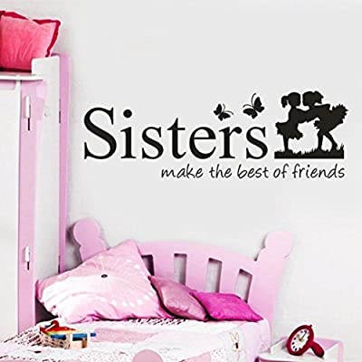 WM & MW Family Wall Sticker,Sisters Wake the Best of Friends Quotes Wall Sticker Girls Bedroom Home DIY Art Decor