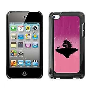 Cubierta de la caja de protección la piel dura para el APPLE IPOD TOUCH 4 - Pink Cute Planet