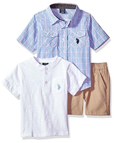 (U.S. Polo Assn. Boys' Little Sleeve, T-Shirt and Short Set, White slub Multi Plaid 7)
