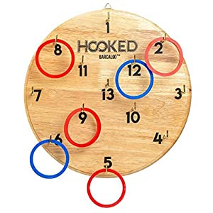 Barcaloo Hook and Ring Game for Adults & Kids – Two Boards – Includes 13 Metal Hooks and 12 Rubber Rings