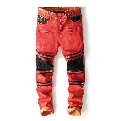 Chlyuan Jeans de Hombre Pantalones Vaqueros de Motorista ...