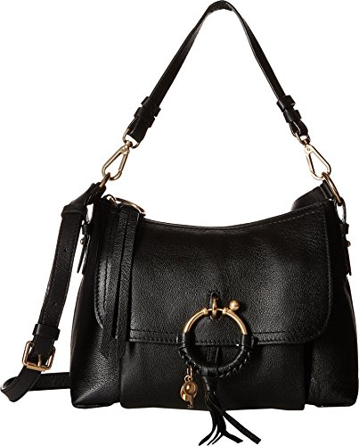 Chloe Small Leather amp; See by Black Joan Bag Womens Shoulder Suede f6xppFHwq