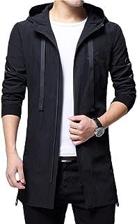 Huixin Trench Coat da Uomo con E Autunno Youth Slim Ragazzo Cappuccio Fit Long Jacket con Cappuccio Casual Outwear Overcoat Tops