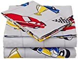 Fancy Collection 4pc Full Size Sheet Set Boys/Teens Gray Red Blue White Black Yellow Racing Cars Flag Helmet Champion New #Race Cars Gray