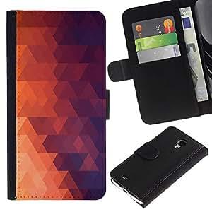 KLONGSHOP // Tirón de la caja Cartera de cuero con ranuras para tarjetas - Geometría Red Triangle - Samsung Galaxy S4 Mini i9190 //