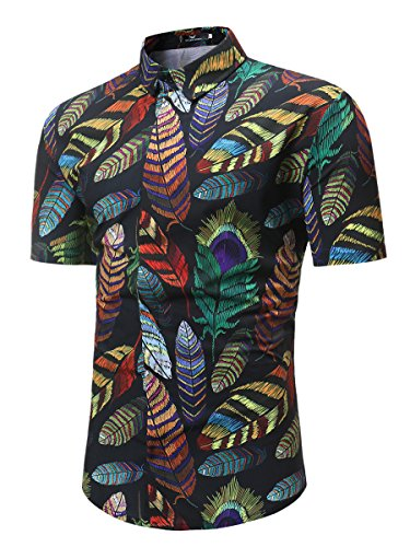 MYMSTORM Mens Flower Short Casual Aloha Beach Tropical Button Down Short Sleeve Hawaiian Shirt (Medium, Black Feather)