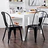 crate and barrel stools Belleze Set of (2) Modern Style Bistro Cafe Side Chair Indoor/Outdoor, Black