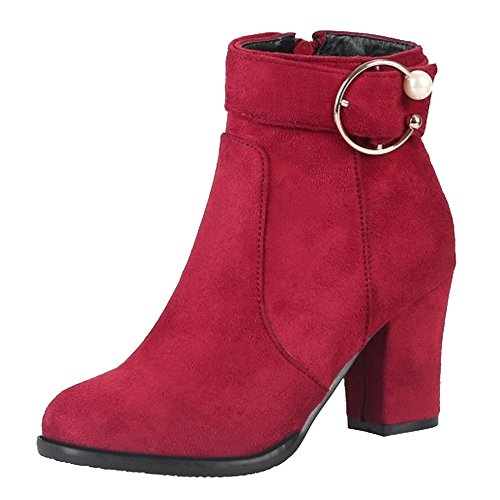 Cocey Women Ankle Casual Booties Red