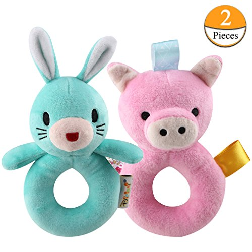 Kingtree Baby Handbell Toys, 2 Pack Soft Rattle Toys for Infant Cartoon Rabbit and Cute Pig Plush Development Toy Set for Newborns Birthday Gift