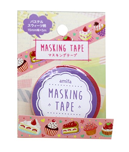 Washi tape Amifa Sweet Candy Collection Masking Deco Tape Standard. (Cakes) (Tape Tape Deco Kawaii)