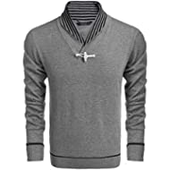 COOFANDY Mens Knitted Slim Fit Sweater Shawl Collar Long Sleeve Pullover Sweater