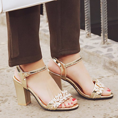 YE Damen Offene High Heels Riemchen Sandalen mit Blockabsatz und Strass 8cm absatz Bequem Schuhe Gold