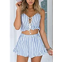 Labu Store SHEIN 2017 Women Summer Two Piece Set Blue Striped Sleeveless Lace Up Smocked Crop Cami and Ruffle Shorts Co-Ord