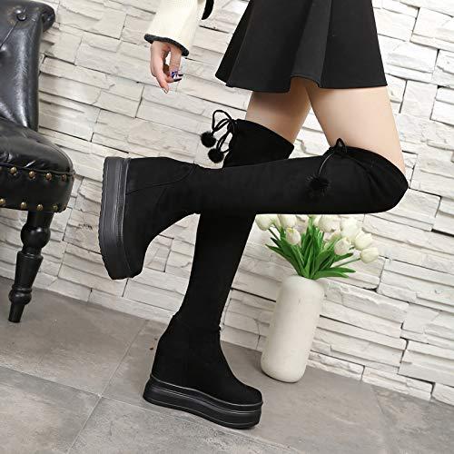 Shukun Stiefeletten Overknee-Stiefel Damenstiefel Lange Stiefel mit dickem Sohlen - - - Elastische Martin-Stiefel mit hohem Absatz erhöht ac35a1