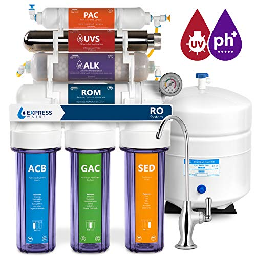 - Express Water Alkaline Ultraviolet Reverse Osmosis Filtration System - 11 Stage RO UV Mineralizing Alkaline Purifier with Faucet and Tank - Mineral, pH + - 100 GDP with Pressure Gauge & Clear Housing
