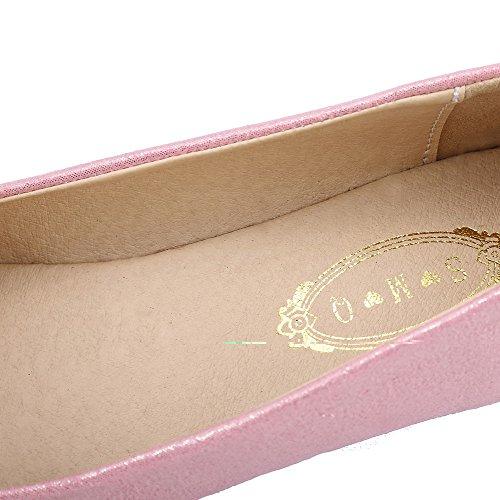 AalarDom Mujer Sin cordones Puntiagudo Material Suave Sólido Plano Rosa-Con cuentas