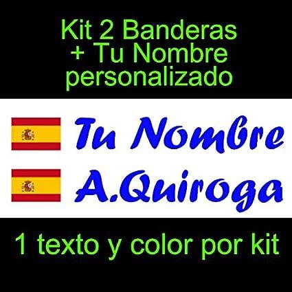 Vinilin Pegatina Vinilo Bandera España con Escudo + tu Nombre - Bici, Casco, Pala De Padel, Monopatin, Coche, Moto, etc. Kit de Dos Vinilos (Azul Oscuro): Amazon.es: Coche y moto