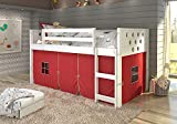 DONCO KIDS Circle White Low Loft with Red Tent, Twin