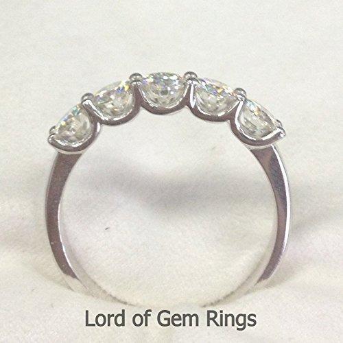 3.5mm Moissanite Wedding Band Anniversary Ring 14K White Gold