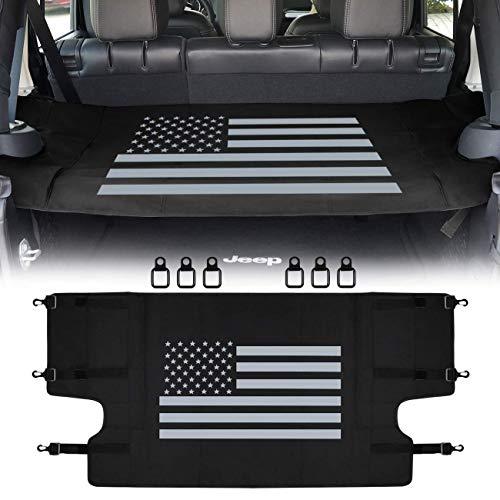 (Sunluway Rear Cargo Rack Cover Shield Trunk Protector Shade Shield Pad US Flag for Jeep Wrangler 2007-2018 JK JKU Sports Sahara Freedom Rubicon X & Unlimited)