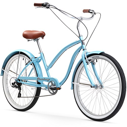 Firmstrong Chief Lady 7-Speed Beach Cruiser Bicycle, 26-Inch, Baby Blue ()