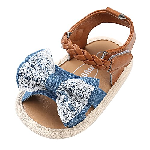 (Weixinbuy Toddler Baby Girls' Soft Sole Bowknot Summer Sandals Outdoors Shoes Denim)