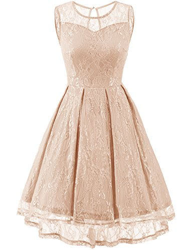 Gardenwed Women's Retro Floral Lace High Low Homecoming Dress Cocktail Party Gown Bridesmaid Dress Champagne Size M