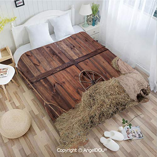 (AngelDOU Soft Warm Flannel Fleece Blanket W72 xL78 Rural Old Horse Stable Barn Interior Hay and Wood Planks Image Print Decorative for Living Room/Bedroom.)