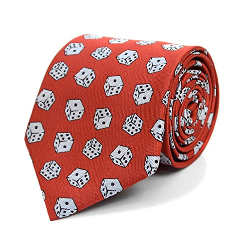 Parquet Men's Novelty Fashion Neckties with Gift Box (Dice Pattern - Red)