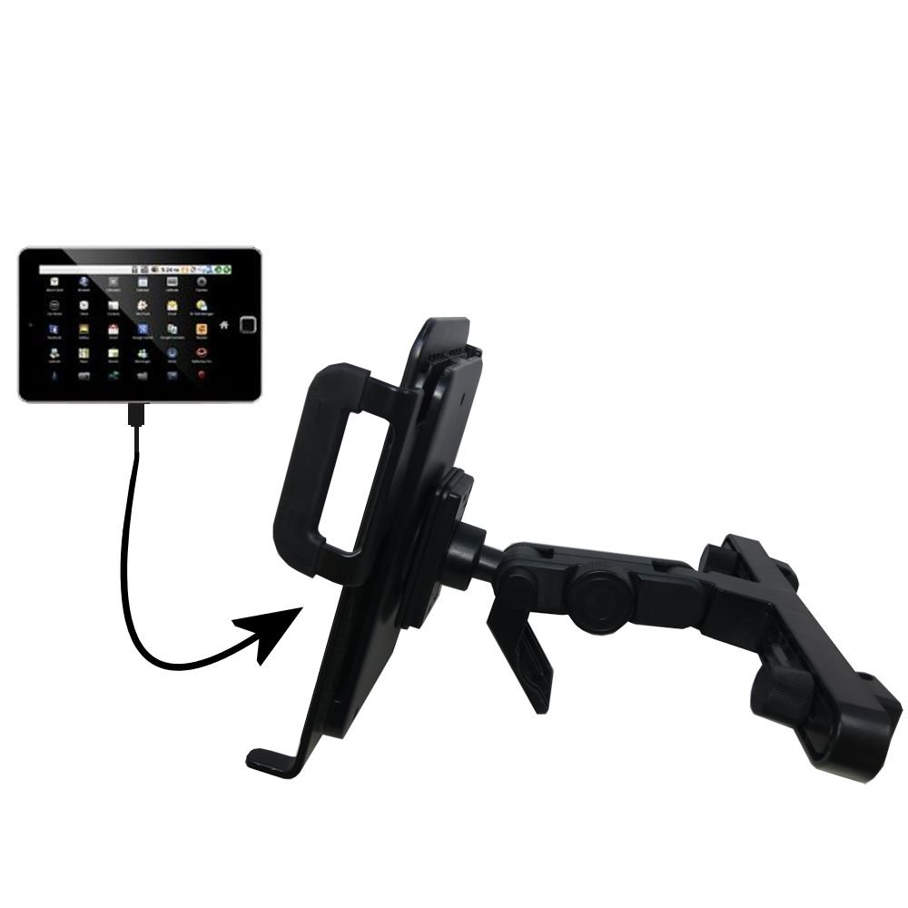 Gomadic Brand Unique Vehicle Headrest Display Mount for the Elonex 760ET eTouch Android Tablet