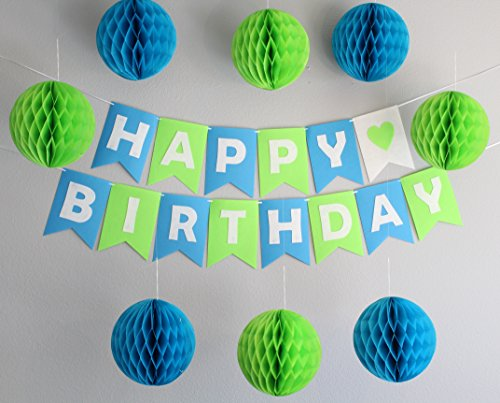 Birthday Banner and Party Decorations - 8 count 8 diameter Honeycomb Balls (4 Blue / 4 Green)