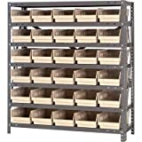 Quantum Storage Steel Shelving System with 30 Bins - 36in.W x 12in.D x 39in.H Rack Size, Ivory, Model# 1239-102I