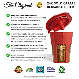 MaxBrew 24K Gold Reusable K-Carafe Filter for Keurig 2.0 - K-Cup Reusable 4-5 Cup Carafe Filter for Keurig 2.0