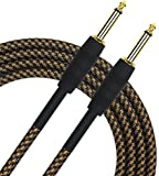 Kirlin Cable IWB-201BSG-10/BW - 10 feet - 1/4-Inch Straight Premium Plus Instrument Cable Brown Black Tweed Woven Jacket