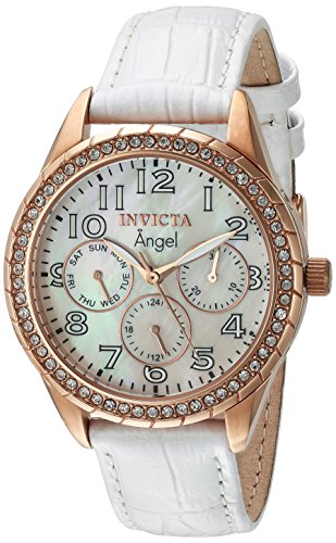 Invicta Women's 'Angel' Quartz Stainless Steel and Leather Casual Watch, Color:White (Model: 12608) (Gold Rose Leather Invicta Watch)