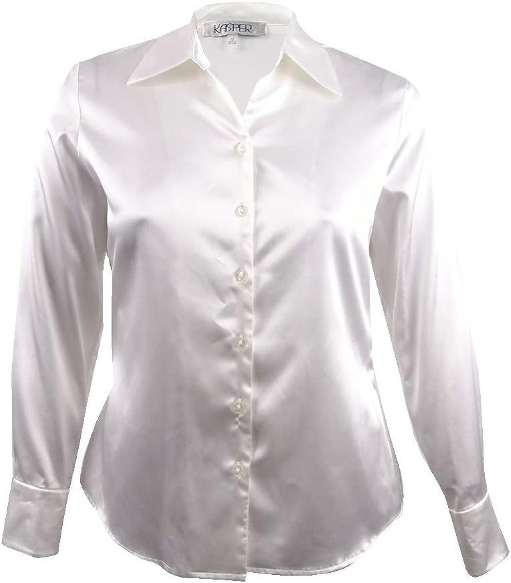 Kasper Womens 5 Button Long Sleeve Stretch Charmeuse Blouse