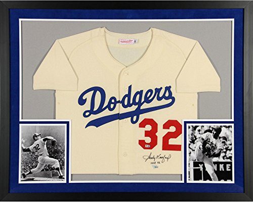 Sandy Koufax Los Angeles Dodgers SM Deluxe Framed Autographed Mitchell and Ness White 1963 Authentic Jersey with HOF 72 Inscription - Fanatics Authentic Certified (Signed Koufax Framed Sandy)