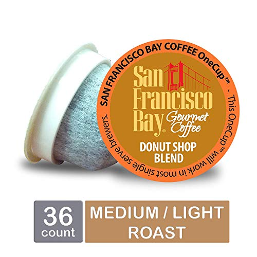 - San Francisco Bay OneCup, Donut Shop, Single Serve Coffee K-Cup Pods (36 Count) Keurig Compatible