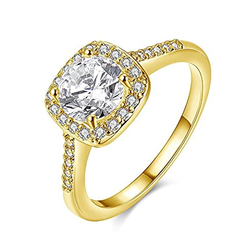 Plated 18K Gold Ring Cubic Zirconia Wedding Engagement Rose Gold Rings with Jewelry Box Size 5 (Cubic Zirconia Gold Rings)
