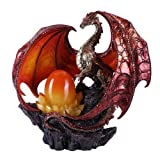 Fire Red Coppervein Dragon Statue with LED Light
